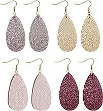 Adramata Dangle Leather Earrings for Women Teardrop Leaf Earrings statement jewelry