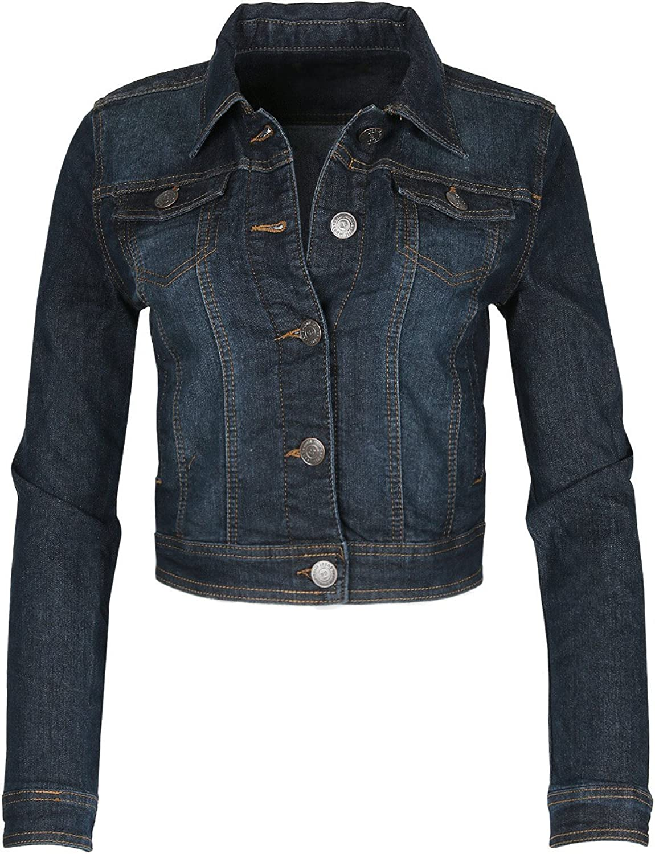 QueenDream Dream Supply Women's Long Sleeve Crop Top Button up Comfort Stretch Denim Jacket