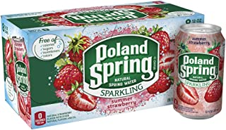 Poland Spring Sparkling Water, Summer Strawberry, 12 oz. Cans (8 Pack)