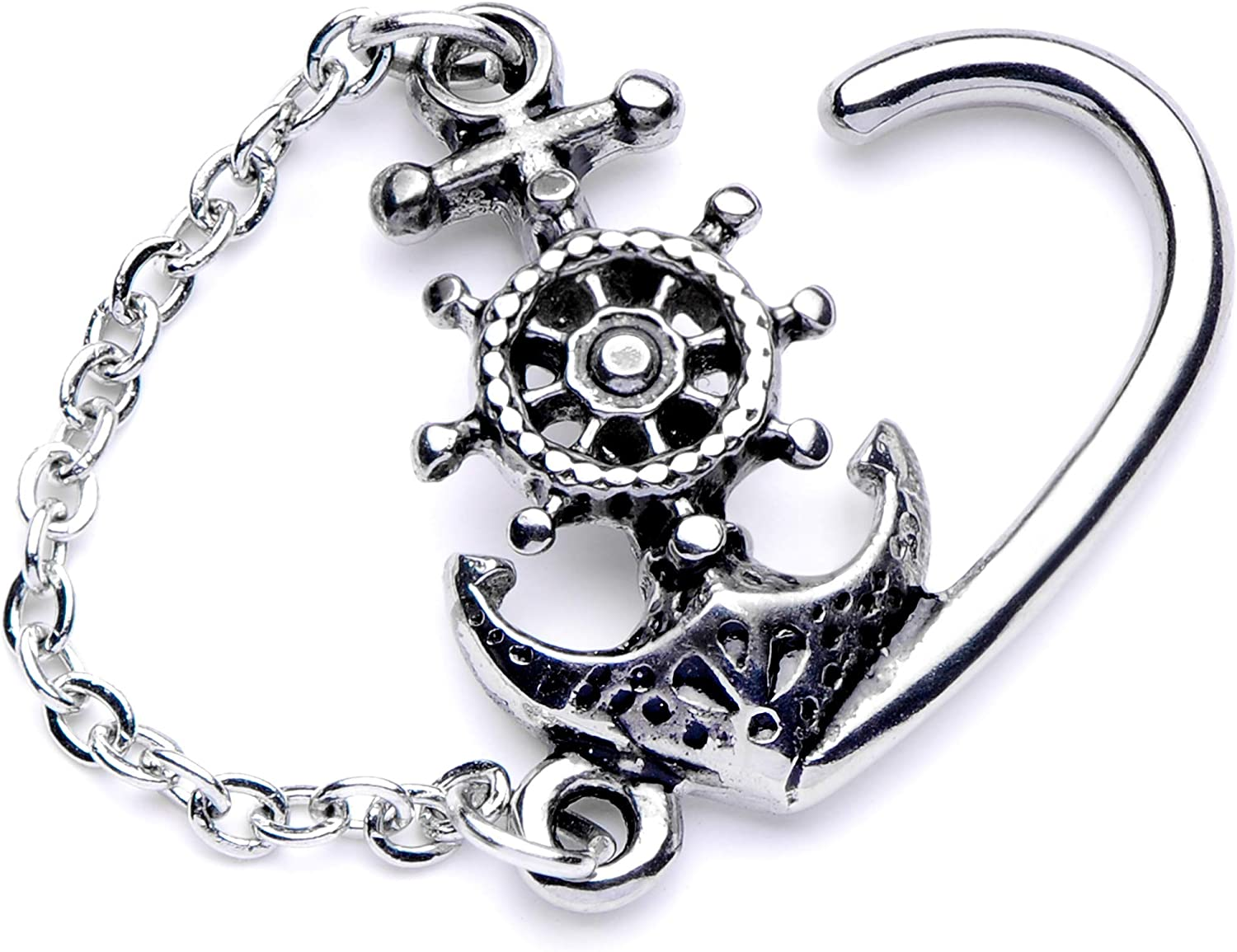 Body Candy Womens 16G 316L Steel Nautical Dangle Right Heart Closure Ring Right Daith Helix Tragus Rook 10mm