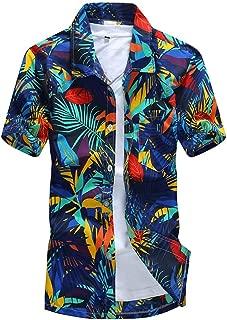 Egelloc Men Hawaiian Print Short T-Shirt Sports Beach Quick Dry Blouse Top Blouse