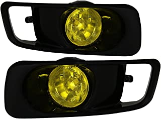 AJP Distributors Fog Lights Lamps Pair + Wiring Switch For 1999 2000 99 00 Honda Civic JDM EK EM1 Sedan Coupe Hatchback (Black Bezel + Yellow Lens)