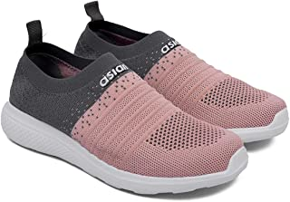 ASIAN Women's Elasto-02 Knitted Socks Sneakers,Ultra-Lightweight, Breathable, Walking, Running Running Shoes Fabric Sports Shoes
