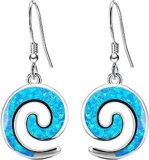 Ohrringe Haken für Damen Opal BiBeary 925 Sterling Silber Horn Strudel Fashion elegant Party
