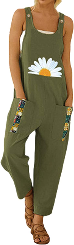 Yeokou Women's Fashion Cotton Linen Max 77% OFF Cute Sunflower Overalls Bib Max 90% OFF