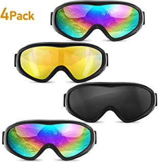 OTG Ski Snowboard Sports Goggles UV400 Protection Anti-Wind Dust-Proof Military Tactical Sunglasses for Men, Women & Youth (Pack of 4)