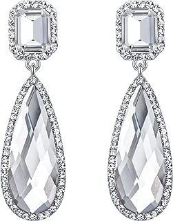 BriLove Women's Wedding Bridal Crystal Asscher Cut Elongated Faceted Teardrop Infinity Figure 8 Dangle Earrings