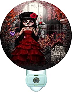 Gotham Decor Day of The Dead Sugar Skull Doll Decorative Round Night Light