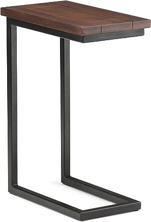 featured product Simpli Home 3AXCSKY-09 Skyler Solid Mango Wood and Metal 10 inch wide Modern Industrial C Side Table in Dark Cognac Brown