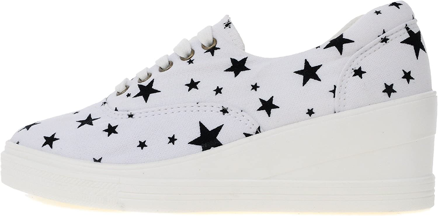 Maxstar 7H 5 Holes Star Shape Pattern Denim Lace Up Sneakers Black
