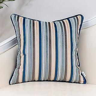 Yangest Blue Striped Velvet Throw Pillow Cover Multicolor Textured Boho Cushion Case Modern Neutral Pillowcase for Sofa Co...