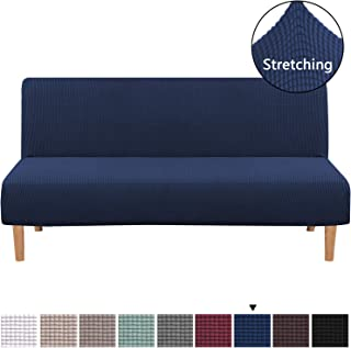 H.VERSAILTEX Armless Futon Cover Stretch Sofa Bed Slipcover Protector Elastic Feature Rich Textured Lycra High Spandex Small Checks Jacquard Fabric Sofa Shield Futon Cover, Machine Washable, Navy