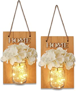 Rustic Mason Jar Wall Decor Sconces – Decorative Home Lighted Country House Hanging..