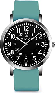TICCI Unisex Men Women Medical Quartz Watch Arabic Numerals Military Time Easy Read Dial Silicone Band Waterproof for Students Doctors Nurses (Teal Black-2)