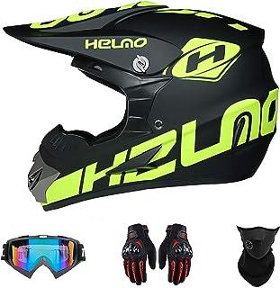 Motocross Helm Für Erwachsene Und Jugendliche,MTB Helm Mit Gesichtsschutz, Schutzbrille Und Handschuhen,Geeignet Für Männer Und Frauen