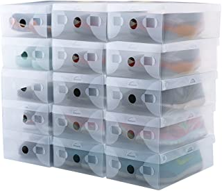 kilofly 15 Kids Women Smart Storage Containers Foldable Clear Shoe Box Set