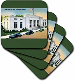 3dRose cst_170243_2 United States Post Office, Hattiesburg, Mississippi-Soft Coasters, Set of 8
