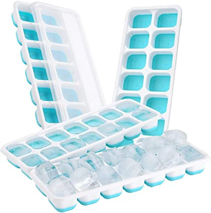 TOPELEK (4 Pack Moules à Glace, Bac à Glaçons LFGB et sans BQP Certifié Glace Cube Tray Moisissures avec Couvercle Non-Déversement, Meilleur pour l'eau Cocktails et Autres Boissons - Bleu
