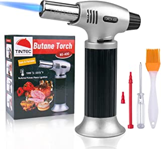 Culinary Blow Torch, Tintec Chef Cooking Torch Lighter, Butane Refillable, Flame Adjustable (MAX 2500°F) with Safety Lock ...