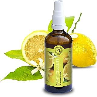Aceite Anticelulítico 100ml - 100% Puro con Aceite de Semilla de Uva - Aceite de Jojoba & Aceite Esencial de Limón 100% - Aceite de Lavanda - Aceite Corporal Contra la Celulitis - Cuidado Corporal