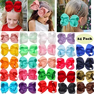 24 Pack 6 Inch Large Big Grosgrain Ribbon Hair Bows Alligator Clips Baby Girls Hair Bows Clips Hair Accessories for Girls Toddlers Kids Children Teens