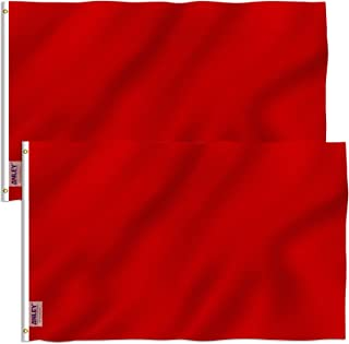Anley Pack of 2 Fly Breeze 3x5 Foot Solid Red Flag - Vivid Color and UV Fade Resistant - Canvas Header and Double Stitched - Plain Red Flags Polyester with Brass Grommets 3 X 5 Ft