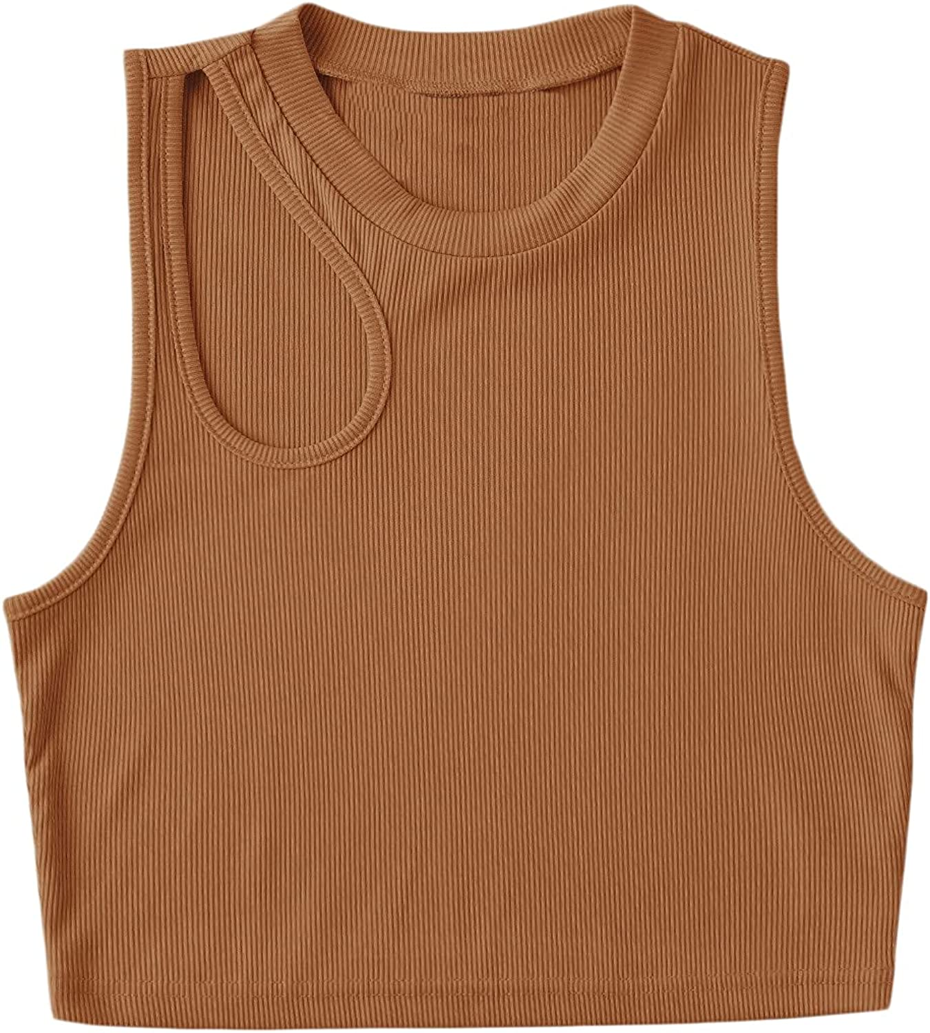 Milumia Women's Sexy Sleeveless Crop Top Summer Slim Cut Out Ribbed Tank Top