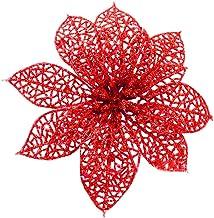 Best 12 Pcs Christmas Flowers Christmas Tree Decorations Artificial Flowers Poinsettia, Glitter Xmas Flowers Poinsettia Bushes Christmas Tree Ornaments Red Poinsettia Christmas Decorations Review