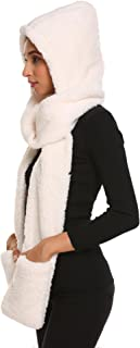 Womens Soft Thick Warm Fleece Long Hooded Scarf with Gloves for Chrismas Gift