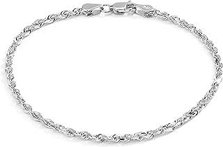 10k Fine Gold Solid Diamond Cut Rope Chain Bracelet and Anklet for Men & Women, 2.5mm (0.1