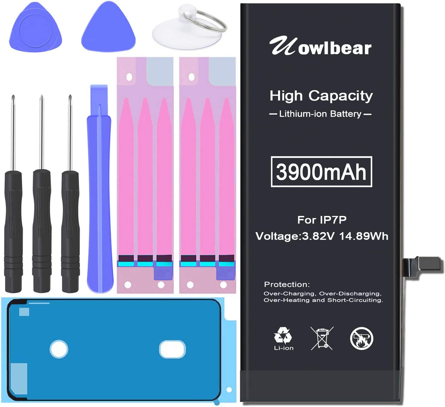 Battery for iPhone 7 Plus, uowlbear 3900mAh High Capacity Battery for 7 Plus A1661 A1784 A1785 with Complete Replacement Tool Kits, Waterproof Seals and 2 Set Adhesive Strips