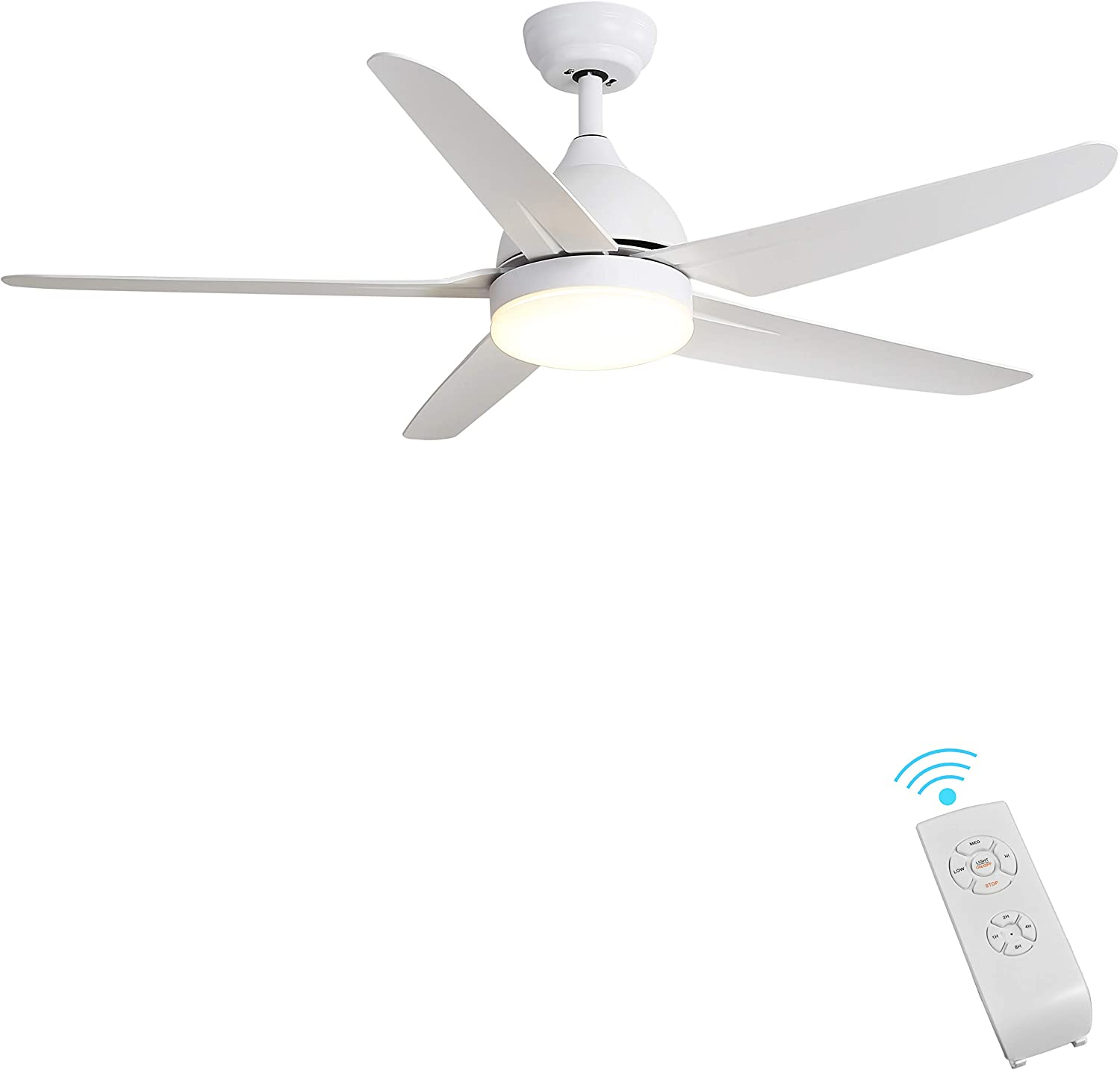 Indoor Ceiling Fan Light Fixtures Finxin White Remote Led 52 Ceiling Fans For Bedroom Living Room Dining Room Including Motor 5 Blades Remote Switch 5 Blades Amazon Com