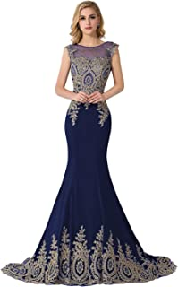 623c4e1ae092e MisShow Women s Embroidery Lace Long Mermaid Formal Evening Prom Dresses