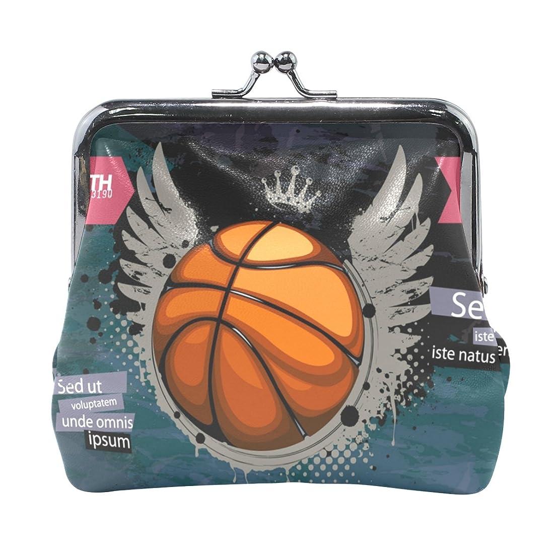リズミカルなチューインガム正確AOMOKI 財布 小銭入れ ガマ口 コインケース レディース メンズ レザー バスケットボール