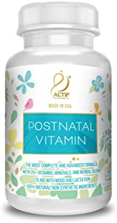 Actif Organic Postnatal with 25+ Organic Vitamins and Organic Herbs, Nursing and Lactation Supplement, Non-GMO, Made in USA, 90 Count