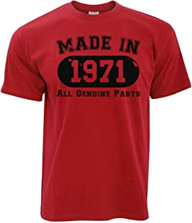 50th Birthday T Shirt Made in 1971 All Genuine Parts Tee