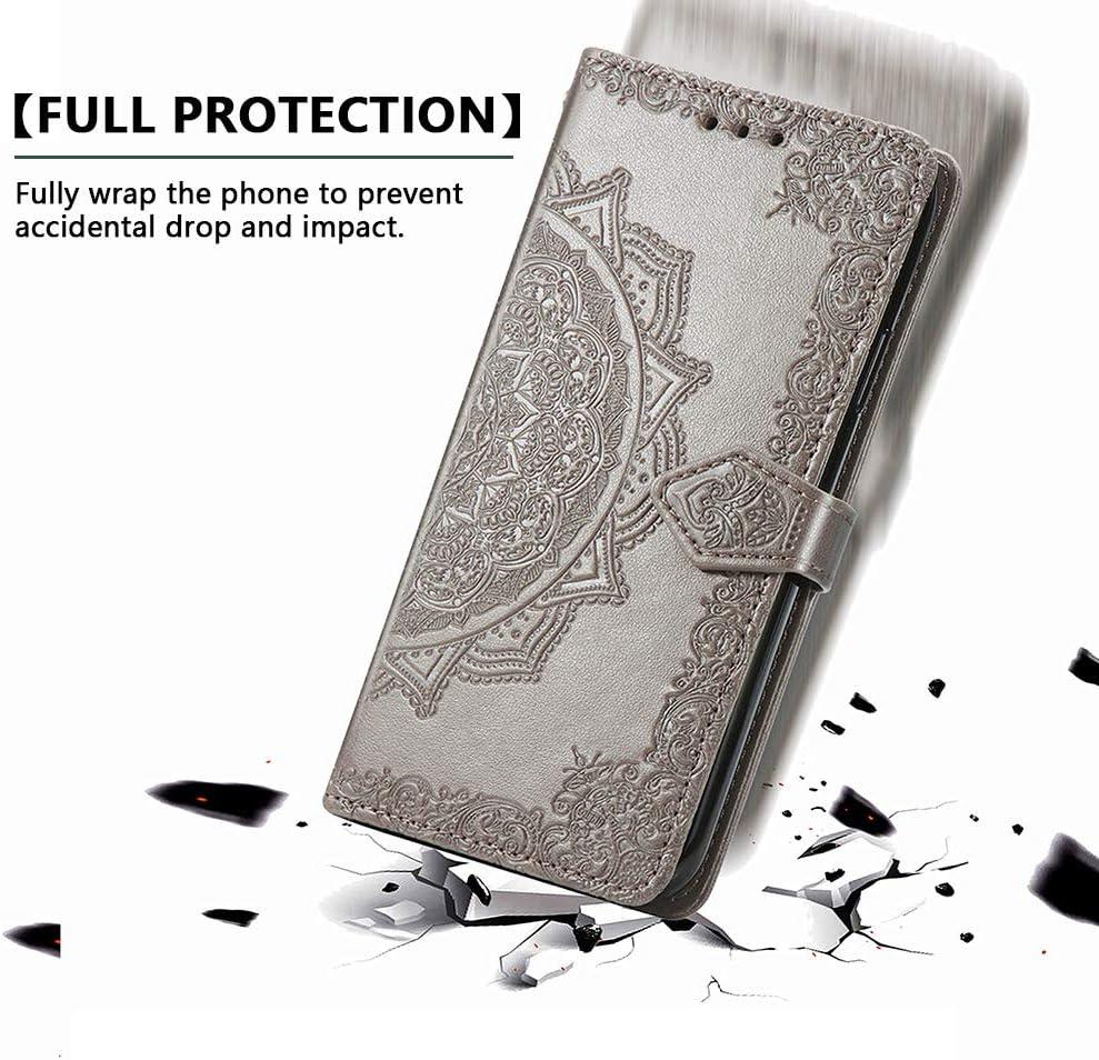 ALAMO Coque en Quatre Tr/èfles pour Samsung Galaxy A12 Prime PU Cuir Etui avec Fentes pour Cartes Bleu M12