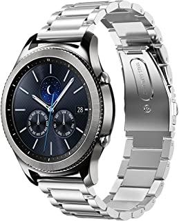 Shangpule Compatible Gear S3 Bands, Galaxy Watch 46mm Bands, 22mm Stainless Steel Metal Replacement Strap Bracelet Compatible Samsung Gear S3 Classic and S3 Frontier Smartwatch