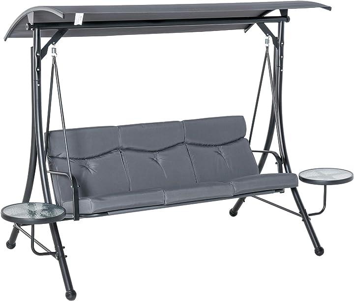 Dondolo 3 posti da giardino tettuccio regolabile e 2 tavolini, per esterno, grigio 278x125x177cm outsunny IT84A-1620631