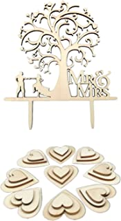 Kalevel 51pcs Wedding Cake Toppers Bride and Groom Rustic Wedding Decorations Wooden Heart Personalized Cake Topper Birthday Wood Cupcake Toppers Bridal Shower Decorations