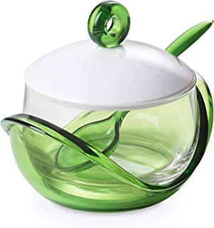 Cheese or sugar bowl with transparent glass container, base, lid and plastic spoon Green, ergonomic and innovative design, Trendy line by Omadadesign