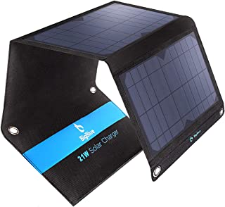 BigBlue 21W Solar Phone Charger with 2 USB Ports(2.4A Max Each), Foldable & Waterproof, Portable Solar Panel Charger Compa...