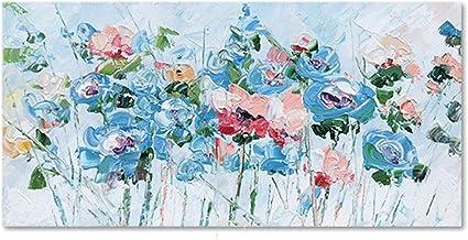 Handgeschilderd Olieverfschilderij - Moderne 3D Handgeschilderde Abstracte Blauwe Bloemen Olieverfschilderij Groot Palet T...