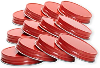 Wide Mouth Aluminum Metal Mason Jar Lids Leak-Proof 12-Pack (Red)