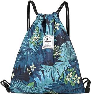 Drawstring Bag Dry Wet Floral Backpack Waterproof Lightweight Tote Pool Beach Travel Gym Bags (Leaf Flower)
