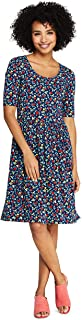 Women's Floral Short Sleeve Fit and Flare Dress