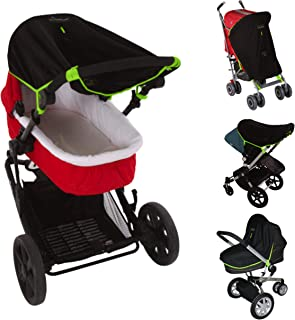 Universal pram and stroller sun shade (0-6m) and blackout blind for carrycots - blocks 99% UV | SnoozeShade Original (Black with safety green trim)