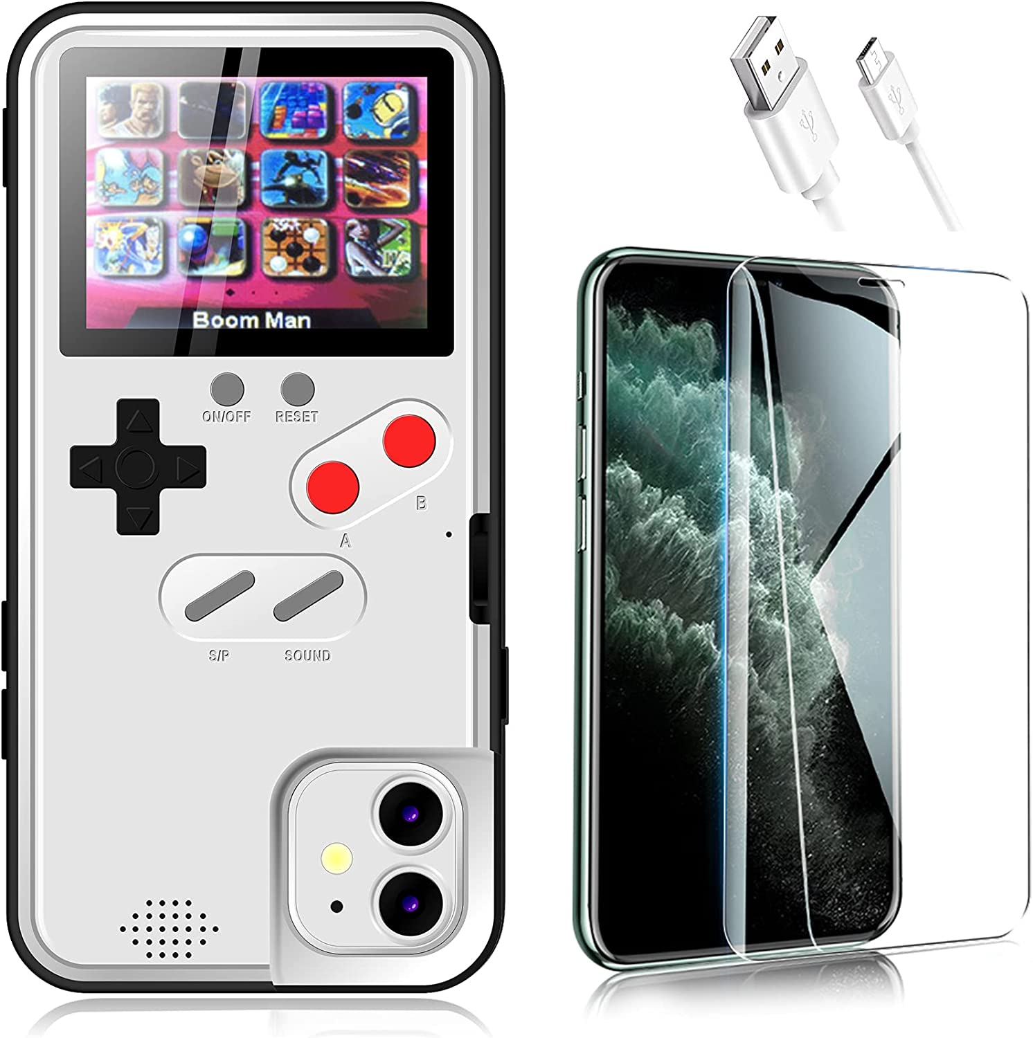 Gameboy Phone Case for iPhone 11 with Tempered Glass Phone Screen Protector,Full Color Display 36 Retro Classic Game, Protective Cover Self-Powered, Video Game Case (for iPhone 11, White)