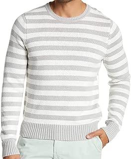Brooks Brothers Men's Stripe Crewneck Sweater, Black/Gray
