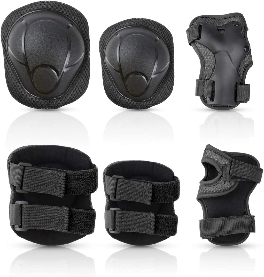 Goaup Kids Children Knee Pads Elbow Pads Wrist Guards 3 in 1 Protective Gear Set for Toddler Skateboarding Inline Roller Skating Rollerblading Sports Cycling Scooter